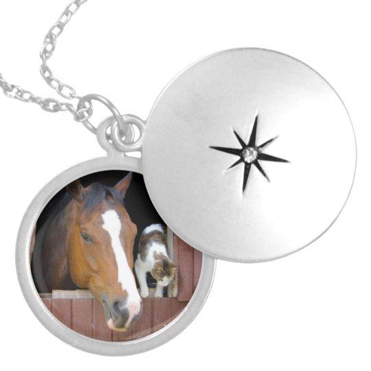 Katt och häst - hästranch - hästälskare halsband med rund berlock