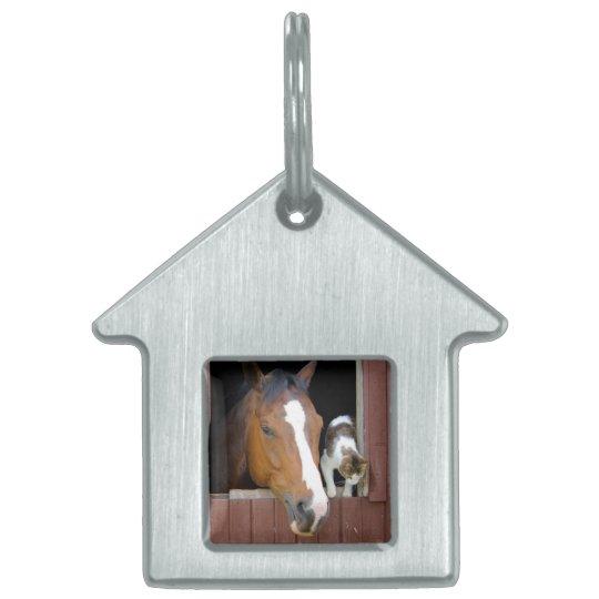 Katt och häst - hästranch - hästälskare ID-bricka husdjur