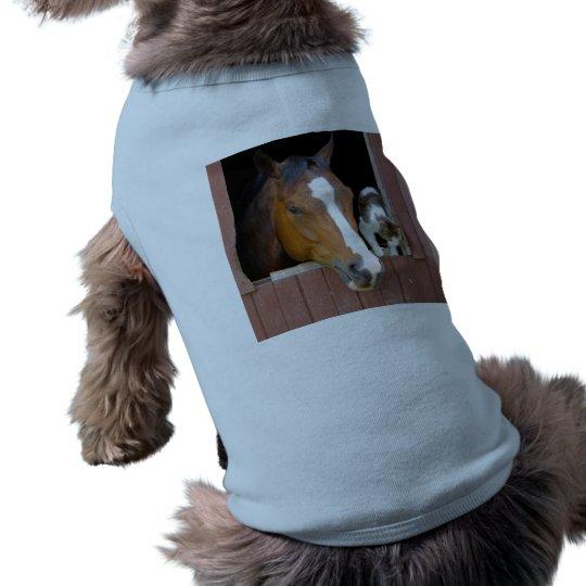 Katt och häst - hästranch - hästälskare långärmad hundtöja