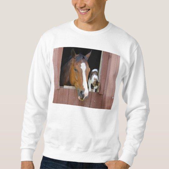 Katt och häst - hästranch - hästälskare långärmad tröja