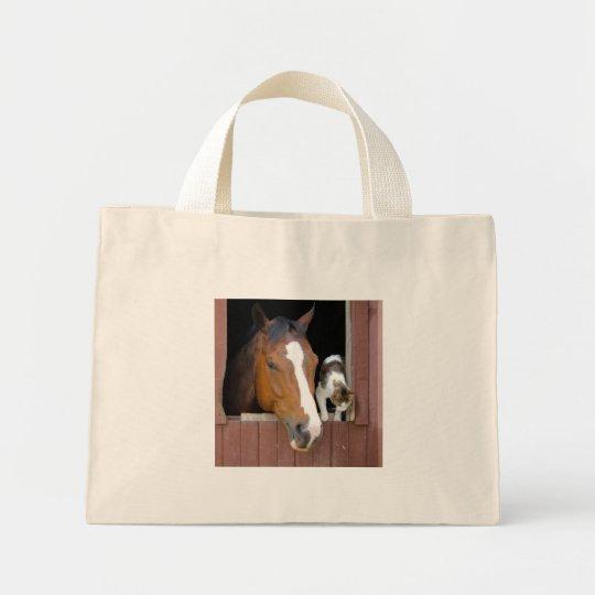 Katt och häst - hästranch - hästälskare mini tygkasse