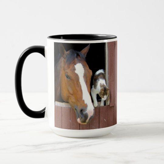 Katt och häst - hästranch - hästälskare mugg