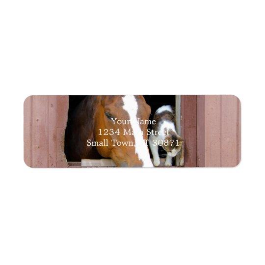 Katt och häst - hästranch - hästälskare returadress etikett