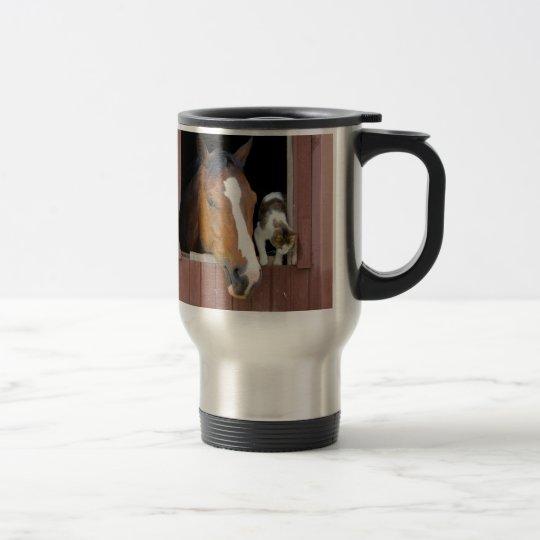 Katt och häst - hästranch - hästälskare rostfritt stål resemugg