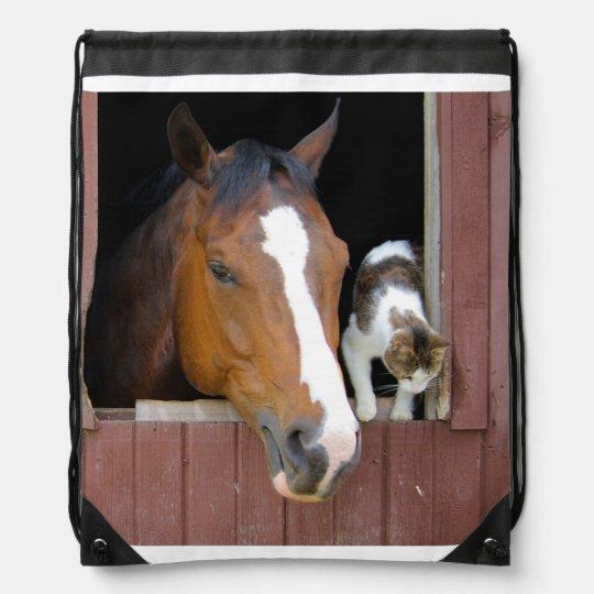 Katt och häst - hästranch - hästälskare ryggsäckar