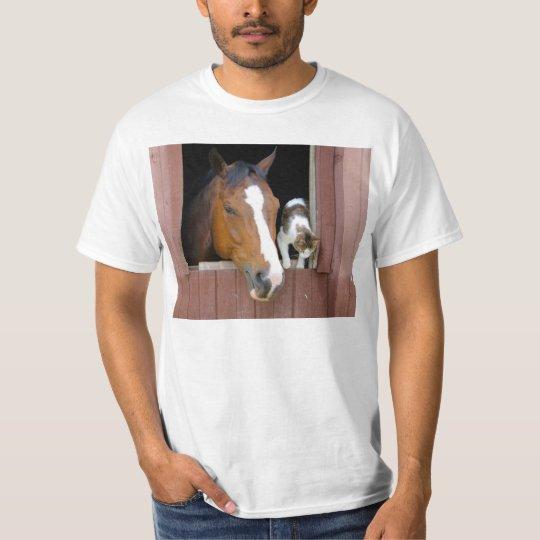 Katt och häst - hästranch - hästälskare t-shirt