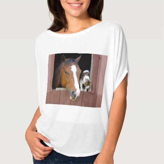Katt och häst - hästranch - hästälskare t shirts