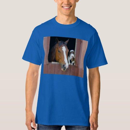 Katt och häst - hästranch - hästälskare tshirts