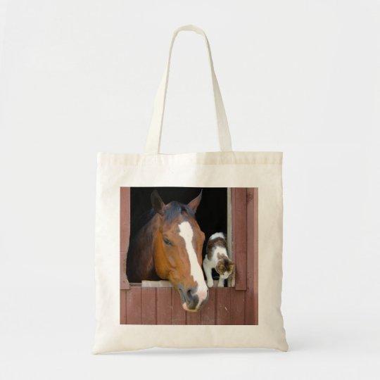 Katt och häst - hästranch - hästälskare tygkasse
