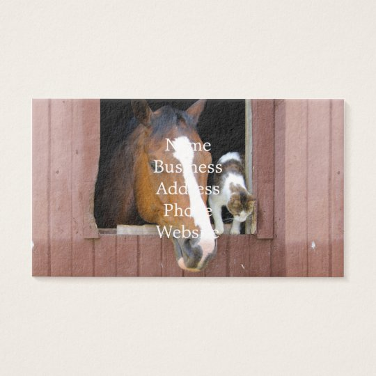 Katt och häst - hästranch - hästälskare visitkort