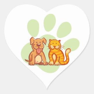 Katt och hund hjärtformat klistermärke