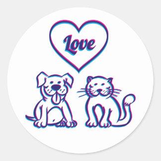 Katt och hund runt klistermärke