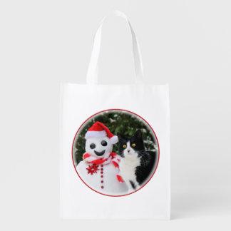 Katt- och Santa snögubbejul Återanvändbar Påse