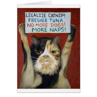 Katt på strejka hälsningskort