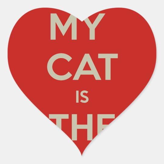 Katt Qoute Hjärtformat Klistermärke