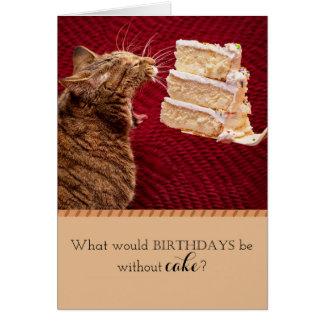 Katt som äter tårtan hälsningskort
