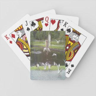 Katt som flyger en fiskmås spelkort