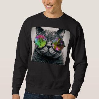 katt som ha på sig flygaresolglasögon långärmad tröja