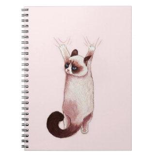 Katt som hänger på vid den spiral anteckningsboken anteckningsbok