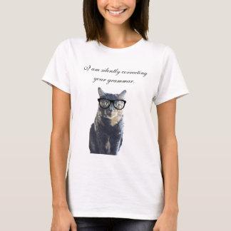 Katt som korrigerar tyst din grammatik t-shirt