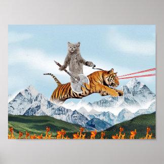 Katt som rider en tiger poster
