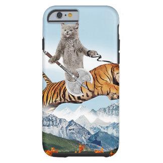 Katt som rider en tiger tough iPhone 6 fodral