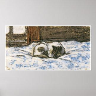 Katt som sovar på en säng vid Claude Monet Print