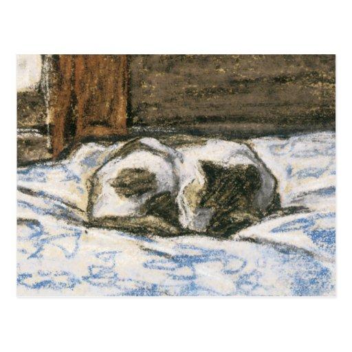 Katt som sovar på en säng vid Claude Monet Vykort