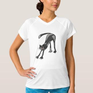 Katt som sträcker kvinna aktivutslagsplatsen t-shirts