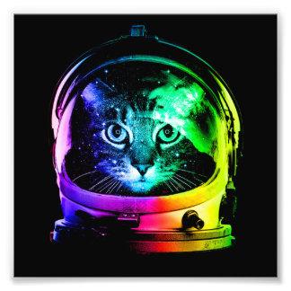 Kattastronaut - utrymmekatt - roliga katter fototryck