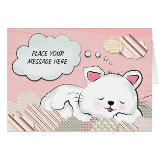 Kattdrömmar med strukturer målade moln hälsningskort