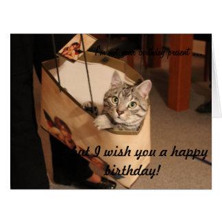 Katten i en gåva hänger lös: Stort födelsedagkort Jumbo Kort