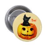 Katten i pumpavintage Halloween knäppas Knapp