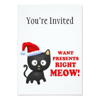 Katten önskar julklappar som höger jamar 12,7 x 17,8 cm inbjudningskort