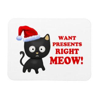 Katten önskar julklappar som höger jamar magnet