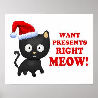 Katten önskar julklappar som höger jamar poster