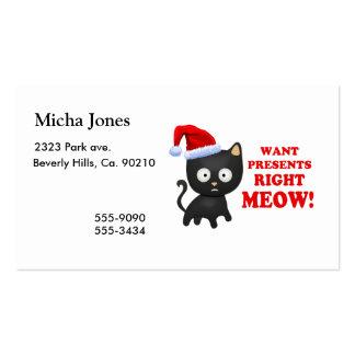Katten önskar julklappar som höger jamar set av standard visitkort
