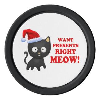 Katten önskar julklappar som höger jamar spel chips