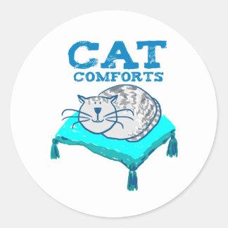Katten tröstar illustrationen av katten på en runt klistermärke