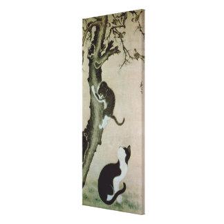 Katter 17th århundrade (bläck på silke) canvastryck