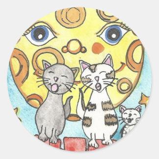 Katter av klistermärkear för ett staket runt klistermärke