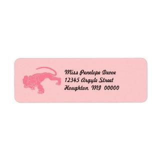 Katter för katt för rosa pumareturetiketter stora returadress etikett