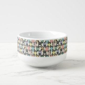 Katter gulligt som är roliga, mönster, trendig, stor kopp för soppa