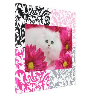 Katter kattungar, skräddarsy, shock rosa, svart, v canvastryck