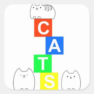 Katter, kittys och kvarter fyrkantigt klistermärke
