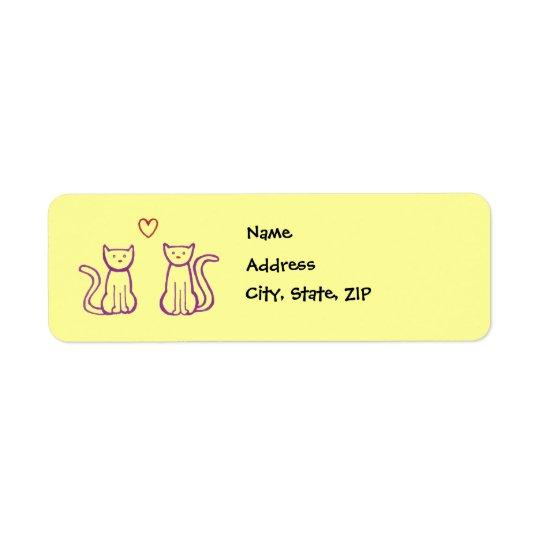 Katter med hjärta returadress etikett