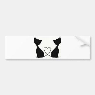 Katter med hjärta som är svartvit bildekal