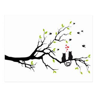 Katter som är förälskade med röda hjärtor på vykort