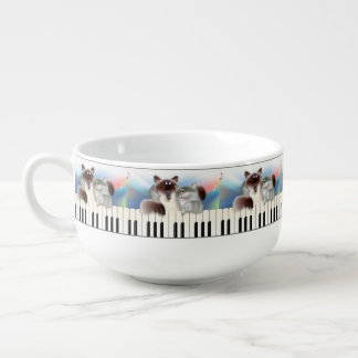 Katter som leker pianot soppmugg