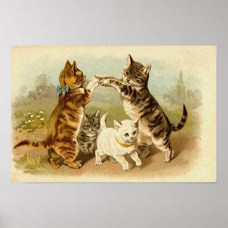 Katter som leker vintageillustrationen poster